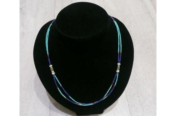 Collier fin Afghan double en Lapis Lazuli