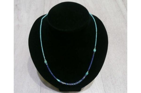 Collier fin Afghan en Turquoise et Lapis-Lazuli
